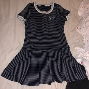 Striped Dress with Bird Embroidery